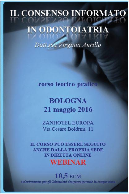 Locandina di presentazione del Corso sul Consenso Informato della Dott.ssa Virginia Aurillo